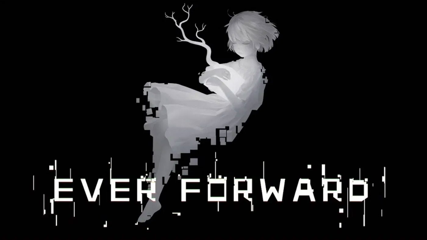 Ever Forward logo text with a silhouette of a girl above with a black background