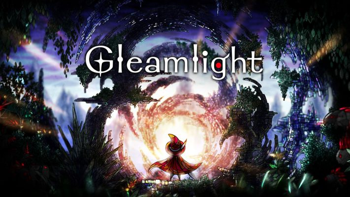 Below the Gleamlight logo stands a wizard figure infornt of a daunting background of shadows and an ominous orange glow.
