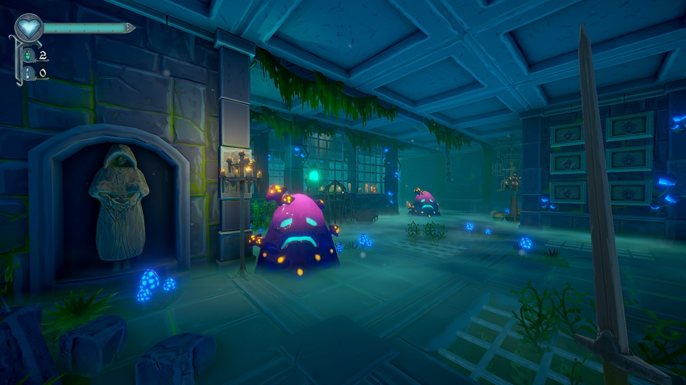 A purple slime monster takes up space in a dark stone room in Mask of Mists