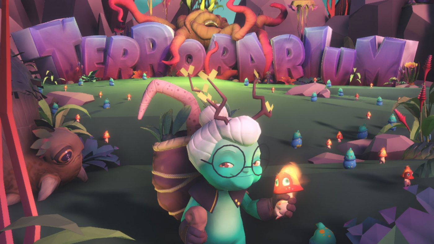 Granny Alien stands holding a Moogu in front of the Terrorarium logo.