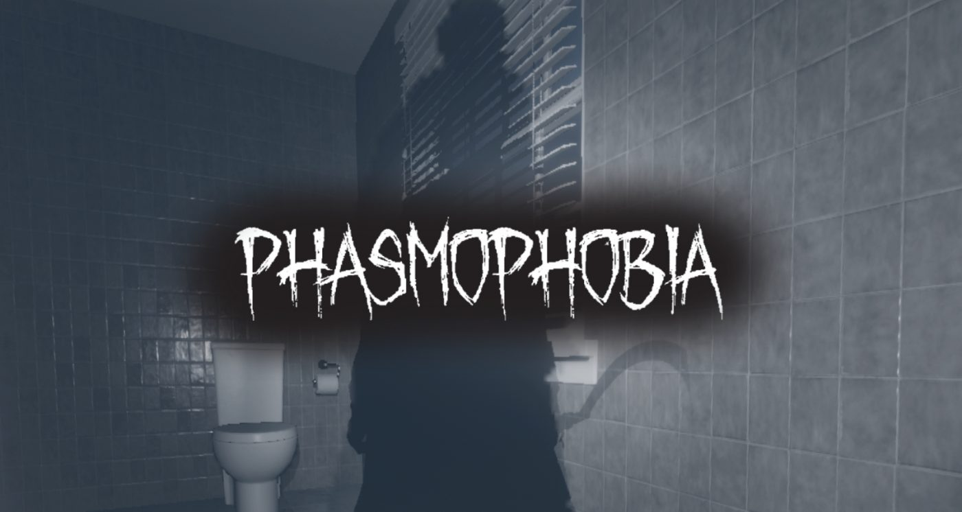 Phasmophobia on a background of a shadow with a scythe in their hand